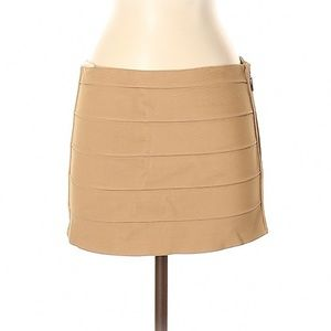 Haute Hippie Camel Bodycon Mini Skirt